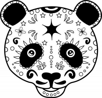 Cuadro vector illustration of a black and white panda's head