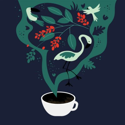 Cuadro Vector illustration of cup of espresso with fancy scent. The dreams about tropics, equatorial regions where coffee plants are cultivated. Template with toucan,flamingo, parrot for banner, poster,flyer