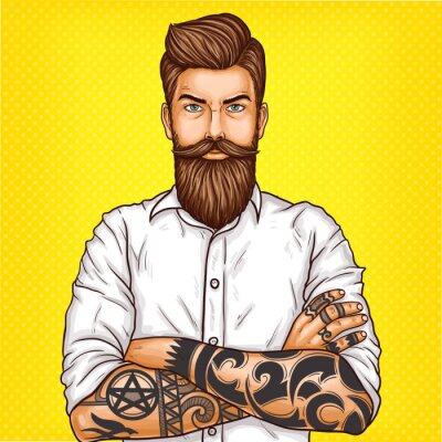 Cuadro Vector ilustración de arte pop de un brutal hombre barbudo, machista con tatoo cruzó los brazos sobre su pecho