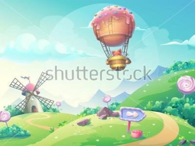 Cuadro Vector la ilustración de un paisaje con el molino y el zorro del caramelo de mermelada en el dirigible. Para imprimir, crear videos o diseño gráfico web, interfaz de usuario, tarjeta, póster.