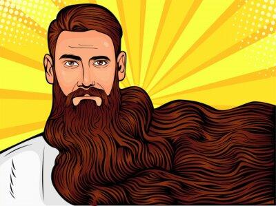 Cuadro Vector la ilustración del arte pop de un hombre barbudo brutal, macho con una barba muy larga sobre toda la imagen