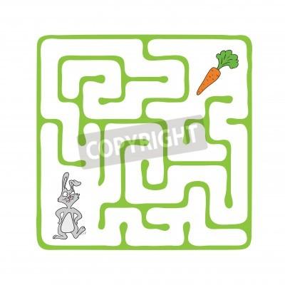 Vector laberinto, laberinto de juegos para niños con el conejo ...