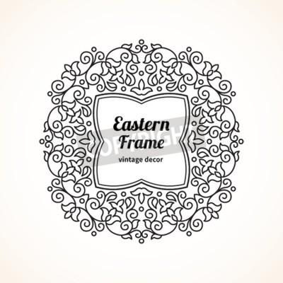 Vector marco de filigrana en estilo oriental. adornado elemento ...