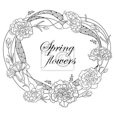 Vector marco redondo con contorno clavel o clavo. flor, yema ...