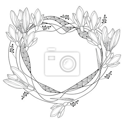 Vector marco redondo con contorno ornamentado snowdrop flores ...
