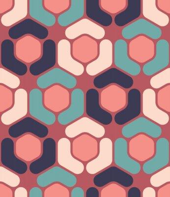Cuadro Vector moderno patrón de hexágono de geometría colorida sin fisuras, color resumen de antecedentes geométricos, almohada multicolores, textura retro, diseño de moda hipster