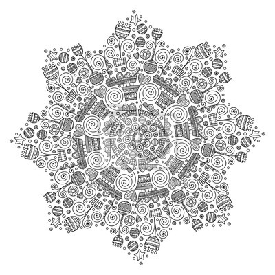 Cuadro Vector Ornamento Con Flores Corazones Estrellas Rondas Doodle