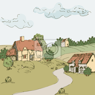 Vector paisaje con casas, castillo, campos y colinas. pinturas para ...