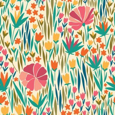Cuadro Vector patrón transparente con flor de verano. Se puede utilizar para el papel pintado de escritorio o el marco para un colgante o un cartel, para los rellenos del patrón, las texturas superficiales,