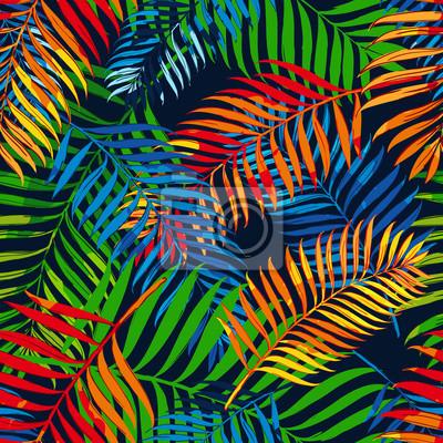 Vector patrón transparente de verano con hojas de palma de color ...