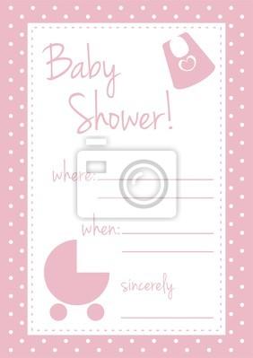 Vector Pink Tarjeta De Baby Shower O Invitación Para Una