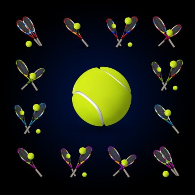 Cuadro Vector símbolos de tenis como elementos de diseño, pelotas de tenis, tenis r