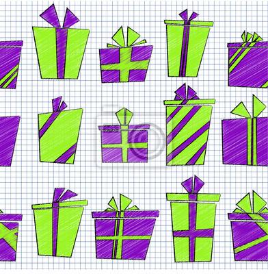 Vector Sin Patrón Con Estilo De Dibujos Animados Plana Cajas