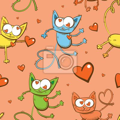 Vector Sin Patrón Con Los Gatos De Dibujos Animados De Color