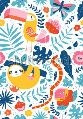 Cuadro Vector sin patrón tropical con lindos personajes animales, tucan, pereza, serpiente, mariposa