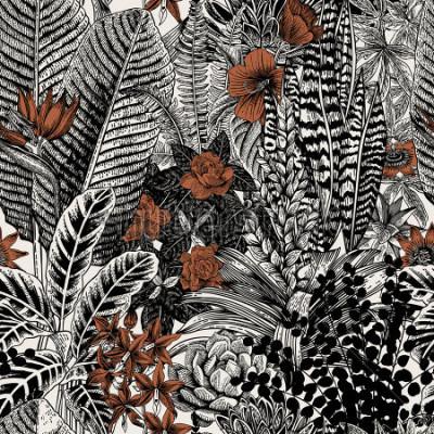Cuadro Vector sin patrón vintage. Flores y plantas exóticas. Ilustración clásica botánica.
