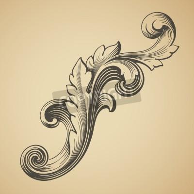 Cuadro vector vendimia elemento patrón marco de diseño barroco grabado estilo retro