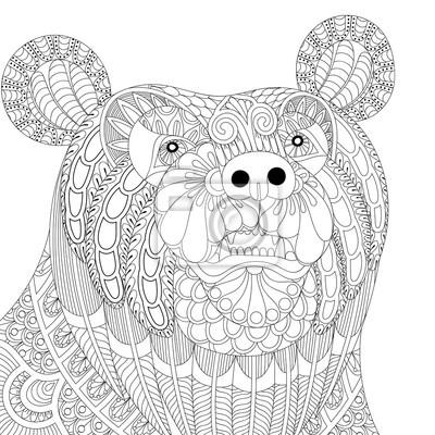 Vector zentangle cabeza de oso para adultos anti estrés para ...