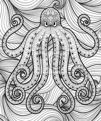 Vector zentangle pulpo en el mar, imprimir para adultos para ...
