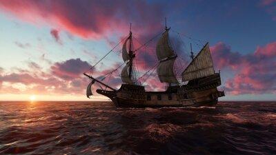 Cuadro Velero en el mar en la noche al atardecer ilustración 3d
