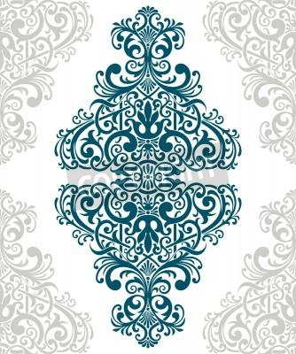 Cuadro vendimia tapa de la tarjeta frontera marco barroco con motivos de flores árabe patrón retro adornado