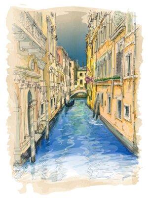 Cuadro Venecia - canal de agua, edificios antiguos y góndola de distancia