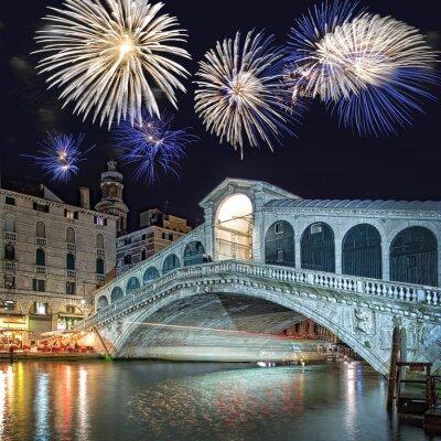 Cuadro Venecia Italia, fuegos artificiales sobre el puente de Rialto por la noche