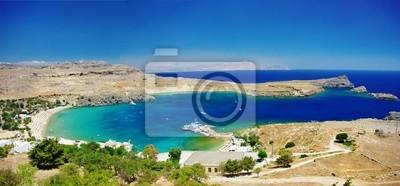 Ver en la isla de la bahía de Lindos-Rodas, Grecia