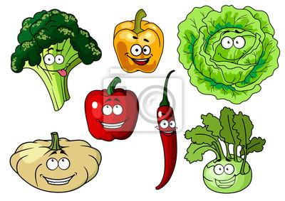 Verduras De Dibujos Animados Personajes Sanas Frescas