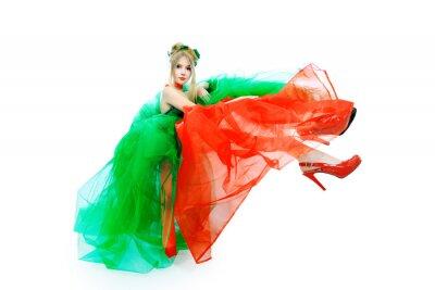 vestido de rojo-verde