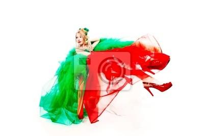 vestido rojo verde