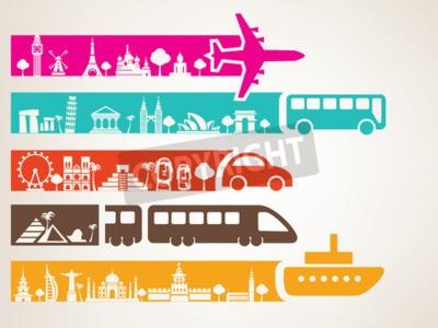 Cuadro viajes mundiales por diferentes tipos de transporte, conjunto de monumentos