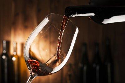 Cuadro Vidrio con vino tinto