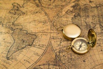 Cuadro Vieja brújula en el mapa de la vendimia