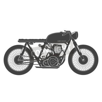 Cuadro Vieja motocicleta de la vendimia. Tema del corredor del café.