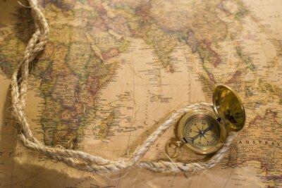 Cuadro Viejo compás y la cuerda en el mapa de la vendimia