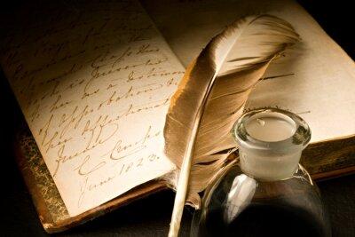 Cuadro Viejo libro con pluma y tintero