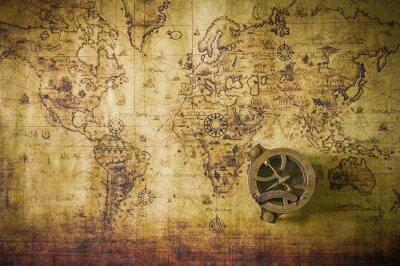 Cuadro viejo mapa con la brújula