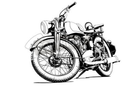 Cuadro Viejo moto ilustración