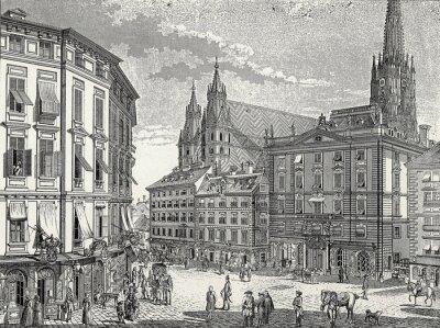 Cuadro Viena Stock im Eisen-Platz finales del siglo 18o., Plantilla Grabado en cobre