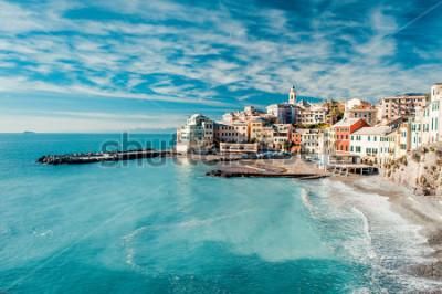 Cuadro View of Bogliasco. Bogliasco is a ancient fishing village in Italy, Genoa, Liguria. Mediterranean Sea, sandy beach and architecture of Bogliasco town. Cloudy blue sky sunny day idyllic scenery, winter