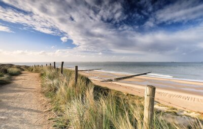 view on North sea beach from dune