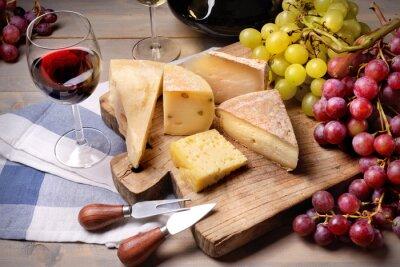 Cuadro Vino tinto, uvas y queso