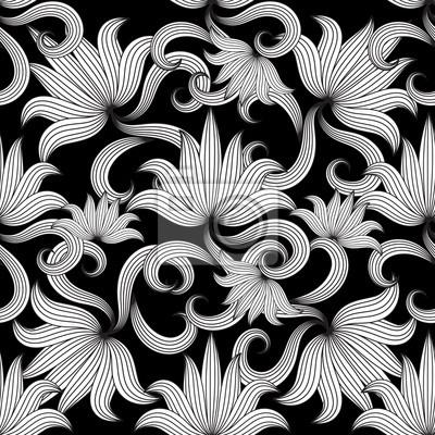 Vintage Blanco Y Negro Floral De Patrones Sin Fisuras Vector