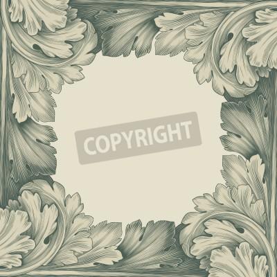 Cuadro vintage border frame engraving with retro ornament pattern in antique rococo style decorative design