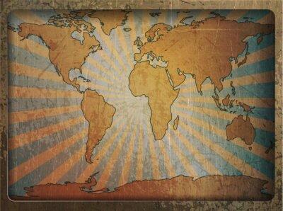 Cuadro Vintage card world map
