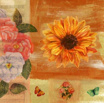 Cuadro Vintage collage con partituras, mariposas, rosas y sunflow