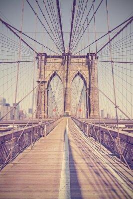 Cuadro Vintage entonó la foto del puente de Brooklyn, Nueva York, EE.UU..