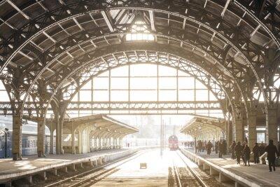 Cuadro Vintage estación de tren con techo de metal
