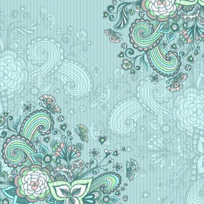 Cuadro Vintage fondo con flores de doodle en azul